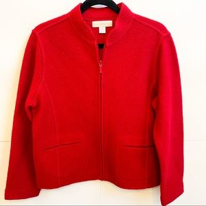 Red Zip Wool Pocket Sweater Petite Sophisticate